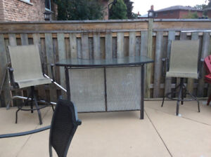 Outdoor patio bar set with 2 swivel chairs