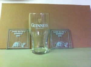 Guinness 20 oz. Glass & Two Guinness Glass Coasters