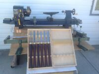 Mastercraft wood lathe, stand/cabinet.