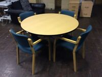 Beech round table with 4 green chairs
