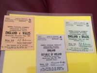 England ticket stubs x3 dated 1956/7 old Wembley