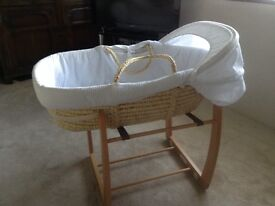 Moses Basket with Beech Rocking Cradle - Excellent Condition!