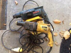 Sds drills 110v and 110v transformer Dewalt and Bosch