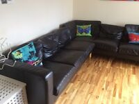 Ikea Black Leather 6 Seater Corner Sofa