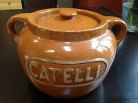 ANTIQUE MEDALTA BEAN CROK POT WITH CATELLI LOGO