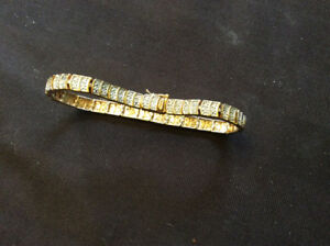 STERLING SILVER TENNIS BRACELET WITH GOLD OVERLAY