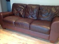 Brown leather 3 seater sofa and single armchair good condition