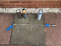 Gas powered flame gun for weed control complete with 2 full gas canisters
