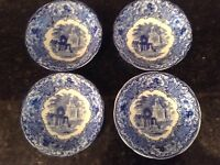 LATE VICTORIAN GEORGE JONES & SON ABBEY 1790 ENGLAND. FOUR BLUE and WHITE BOWLS.