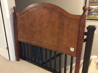 Queen bed frame, split box spring and pier one import head board