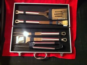 Stainless Steel BBQ Utensil Tool Set with Carrying Case.