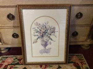 Beautiful Urn and Floral Print - Double Matted and Gold Framed
