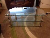 Clear tempered glass 3 tier TV stand