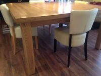 Large solid oak square dining table + 4 cream leather style chairs