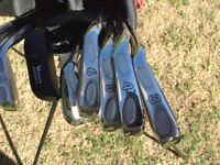GOLF CLUBS LEFT HANDED. FULL SET IRONS 3 TO S/W + WOODS 1-3-5 and PUTTER. WITH LIGHT WEIGHT BAG £45