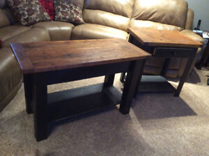 Wooden sofa table and end table