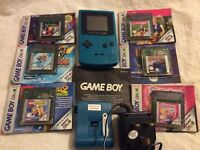 Game Boy colour with 6 games and battery pack & charger.