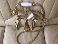 Gold Victorian Westminster 1902 bath mixer tap with shower head Brought but never used