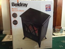 BRAND NEW Black Beldray Boden Electric Stove Fire like Woodburner SEALED IN BOX