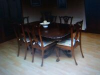 Mahogany antique dining table and 8 chairs