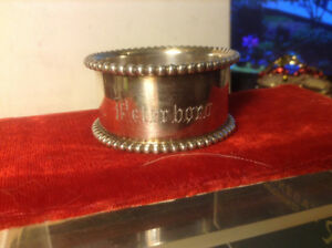 ANTIQUE STERLING SILVER NAPKIN RING MONOGRAMMED