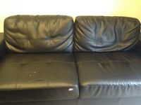 Leather Black Sofa, Love Seat and Chair.