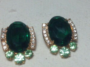 Antiques Brooch and Earrings Green Crystal