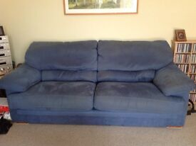 Blue 3 Seater & 4 Seater Sofa with large foot stool