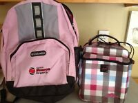 New Pink Columbia backpack and Roots lunch bag