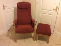 Comfortable upright chair with matching stool