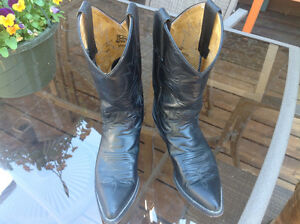 JUSTIN WOMEN'S BLACK LEATHER WESTERN BOOTS-SIZE 5.5