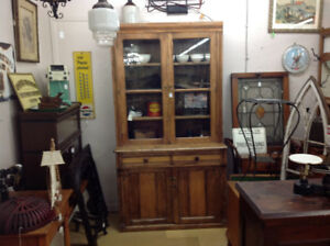 Antique step back cupboard, early, square nailed