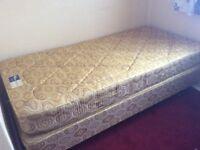 3' Single bed, sprung mattress, £25.