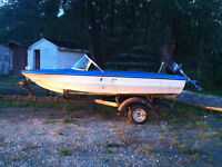 14' vanguard fishing boat ,engine and trailer