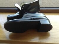 Men's Black leather fur lined boots