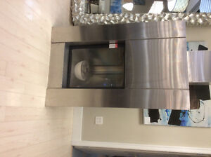 Contemporary stainless fireplace...a steal!