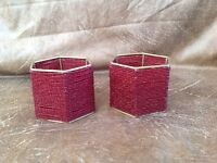 Set of 2 Red Glass Bead and Brass Tealight Holders