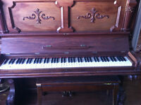 Antique Standup Webber Piano + Bench