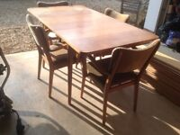 Teak retro extendable dining table and four chairs