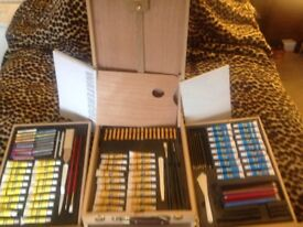 ARTIST BOX WITH EASEL PAINTS BRUSHES CANVAS OIL WATER COLOUR ACRYLIC