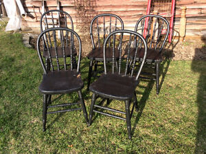 5 Vintage Wooden Chairs