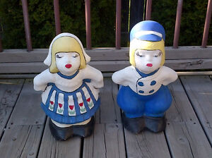 DUTCH BOY and GIRL cement garden/patio statues excellent cond.