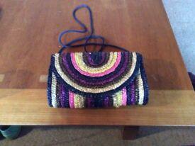 Multi coloured striped straw bag