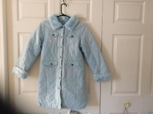 Good Quality Girl's Long Baby Blue Winter Jacket