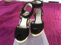 Black Wedge Sandals by 'Office' Size UK 6.5 (40)