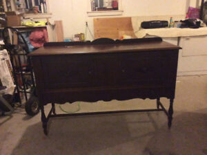2 Antique Side Buffet Tables and 1 Drop Leaf Table with 2 Chairs