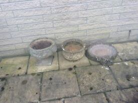 Various stone plant pots & shell