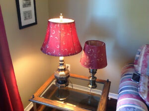 Two solid brass lamps with decorative shades