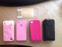 I phone 4 cases x 4 and screen Protector
