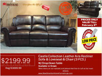 ◆Brand New 3pcs Leather Air Recliner Set on Sale@NEWDIRECTION!